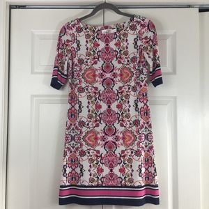 Eliza J shift dress mixed prints navy pink white